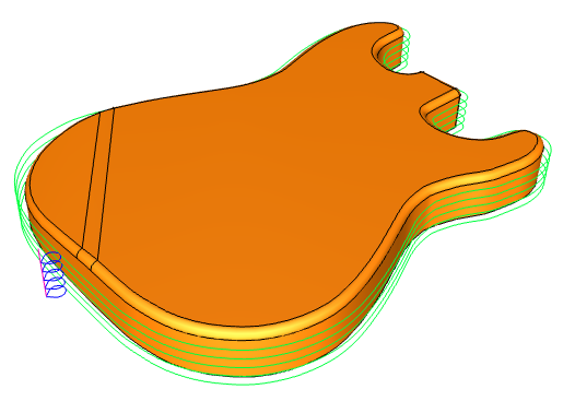 CNC software 2 Axis profile Guitar in BobCAD-CAM