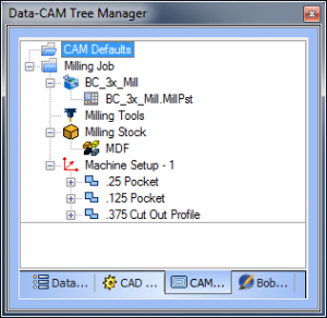 CAM Tree Manager Milling Job Artistic CAD-CAM software