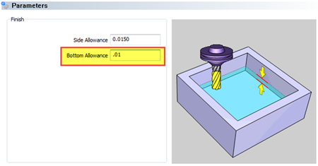 Bottom allowance feature in cad-cam