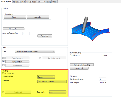 sorting control oprion in BobCAD CNC software