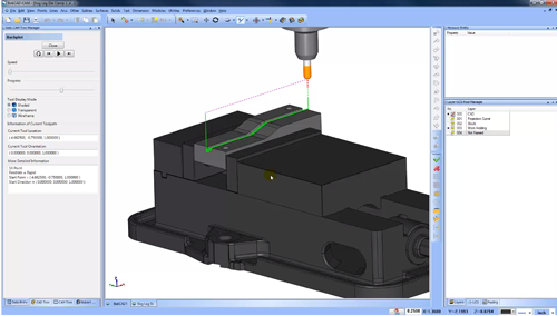Project curves cam software toolpath