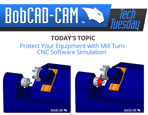 CNC software mill turn simulation in BobCAD-CAM