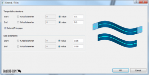 extend and trim feature in BobCAD CAD-CAM software