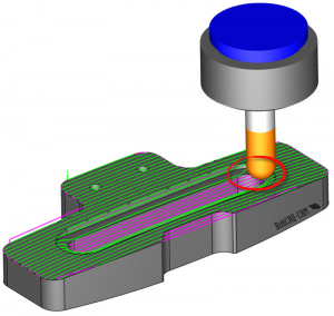 toolpath on part in CAD-CAM
