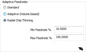adaptive feedrates in V31 cad-cam software