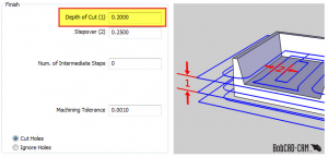 CNC software depth of cut