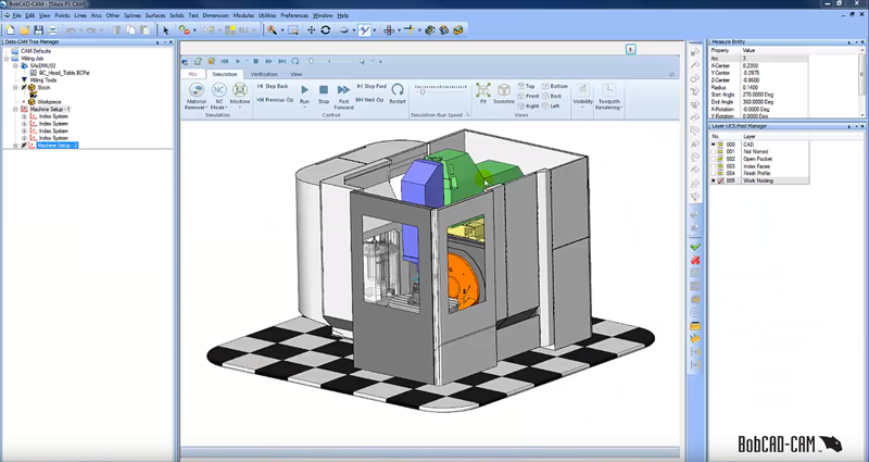 simulation view in BobCAD CNC software
