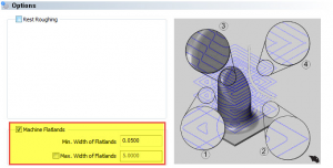 machine flatlands minimum maximum in CAD-CAM