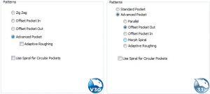 pocket patterns side by side in CAM software
