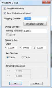 wrapping group cnc software dialog
