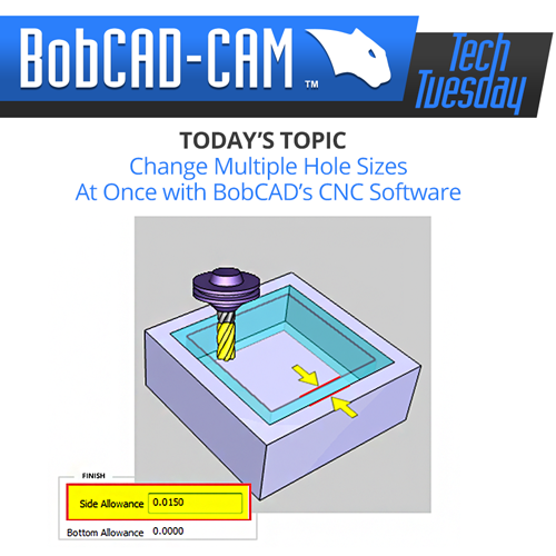 change hole sizes in bobcad cnc software