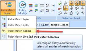 pick and match by radius in bobcad v31 cnc software
