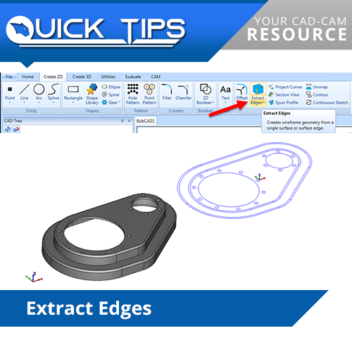 bobcad cadcam extract edges CAD feature