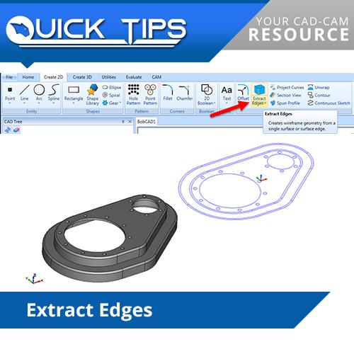 bobcad cadcam extract edges CAD feature