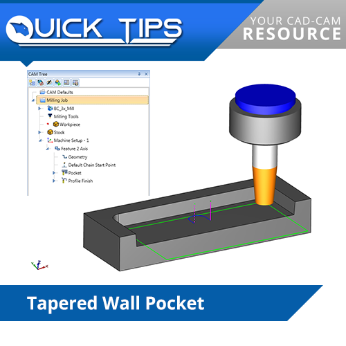 bobcad cnc software performing tapered wall pocket