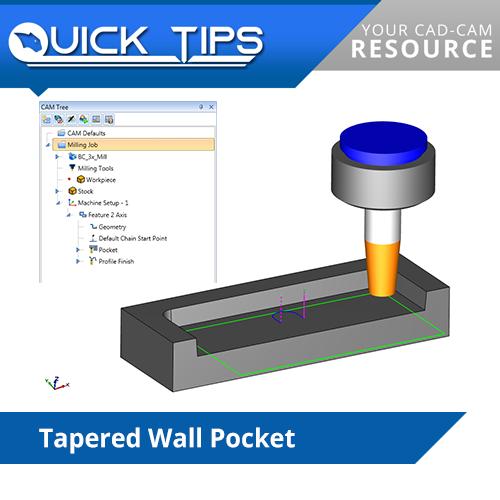 bobcad cnc software performing tapered wall pocket