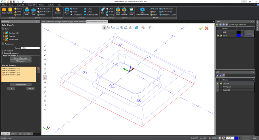 bobcad cam software easy geometry selection method