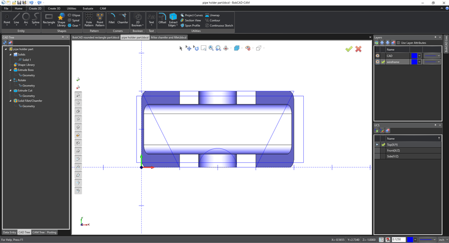 top view in your bobcad cnc software