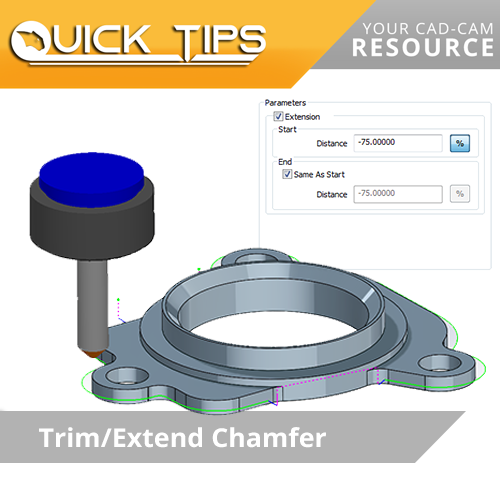 bobcam cnc software quick tip; chamfering trim extend
