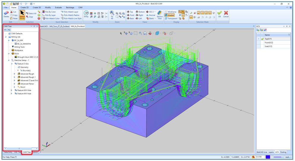 bobcad cnc cam tree manager