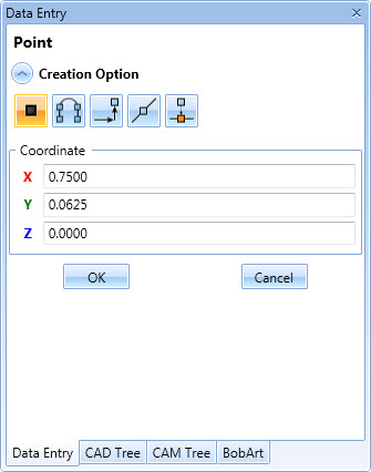 BobCAD's data entry window populates with geometry attributes options