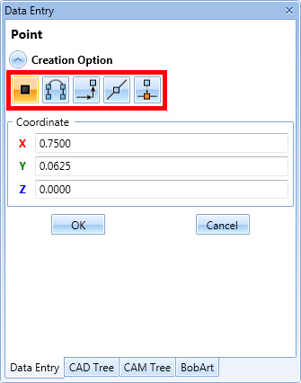 BobCAD's drawing features offers multiple options that are listed at the top of the data entry window.
