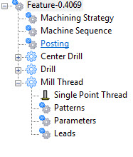 Thread Mill Feature Tree