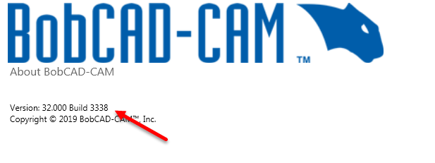 Locate your version and build number in BobCAD-CAM's CNC software