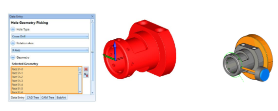 The drilling feature found in BobCAD-CAM's  speeds up 4 Axis drilling