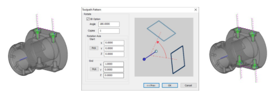 BobCAD 4 Axis Milling Allows you to make copies of your toolpath using toolpath patterns
